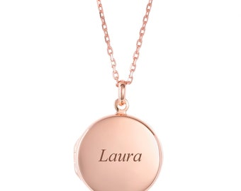 Personalised Rose Gold 2 Photo 1.7cm Round Disc Locket - Engraved Name, Initials or Message
