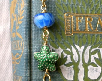 Under The Sea Beaded Bookmark - Starfish Bookmark - Beach Lover - Book Lover Gift - Useful Gift - Blue Green White - Gift Topper - Thank You