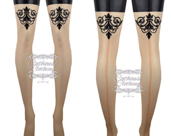 Latex rubber 'Rococo' stockings by Cathouse Clothing WRUB977
