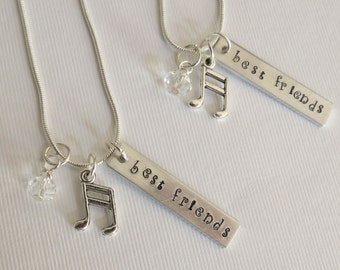 Best Friends Necklace Set, Hand Stamped, Personalized, Music Charm, Friend Gift, Sisters, BFF, Bestie, Sister Gift