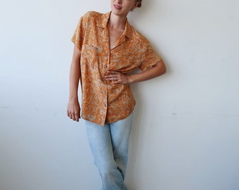 SALE! Orange Patterned SILK Short Sleeve Blouse