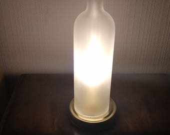 Recycled glass bottle lamp