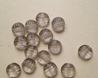 Vintage 2 X 8mm light grey disk glass beads with surface stripes