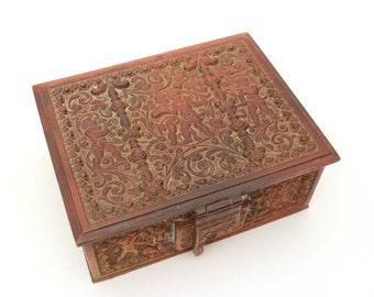 Antique Bronze Renaissance Revival Jewel Box, Ornate Bronze Box Cherubs, Raised Putti, 19th Century Jewel Casket, Velvet Lined Jewelry Case