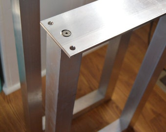 "The BEST Metal Table Legs, 2"" Square, SET of 2 Frame Legs, Unfinished Aluminum Legs"