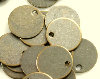 400 pcs antique brass tone brass 6 mm circle tag 1 hole charms ,findings 79AB-42