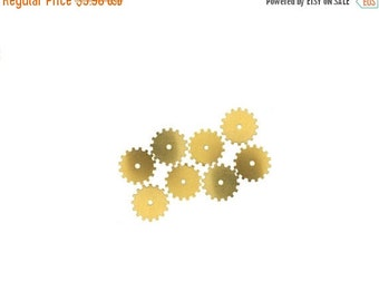 50off Steampunk Cog Gears Raw Brass 24 Gauge Assemblage Altered Art Lot 19mm- Qty 8 Made in the USA