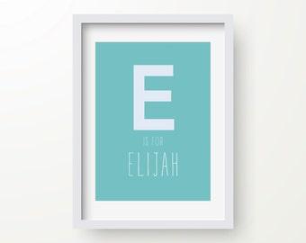 E Is For Elijah Print, Nursery Art, Personalised Name Print, Digital Wall Print, Kids Poster, Typography Print, Monogram, Baby Name Initial
