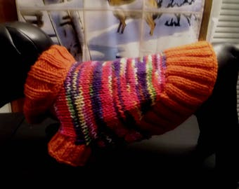 MEDIUM LONG DOG Sweater, Dog Clothes,Dog Birthday Present,Hand Knit Turtleneck Dog Sweater  # 538