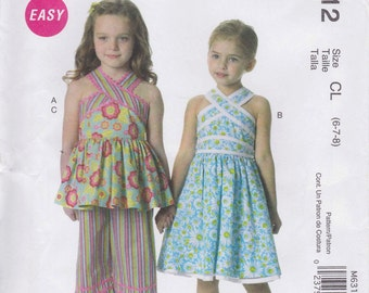 Summer Dress Pattern Capris Crossover Top  Girls Size 6 - 8  uncut  McCalls 6312  Easy