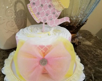 One Tier Pink And Yellow Diaper Cake / Baby Shower Centerpiece / Elegant Diaper Cake /  Tea Party Baby Shower