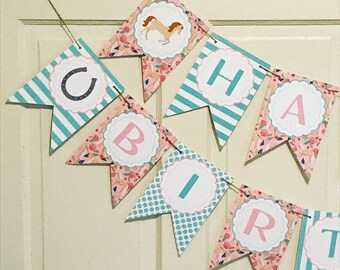 FLORAL HORSE Happy Birthday or Baby Shower Banner - Party Packs Available - Blue Pink