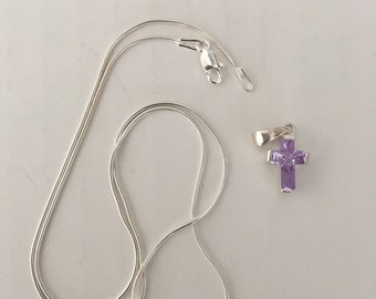 "Crystal Cross in Sterling Silver setting Pale purple attached bail and 18"" snake style chain"