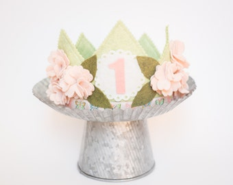 GIRL Birthday Crown// SHABBY Cherry Blossom crown //Photo Prop // Smash Cake// Flower Crown