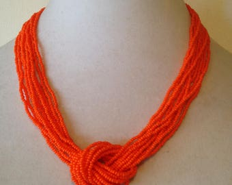 Orange,statement necklace,beaded necklace,knot necklace,multistrand necklace,orange jewelry,sailor knot necklace,gift for her