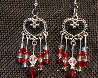 Antique Silver Heart Chandelier Earrings with Red and White Glass Beads.