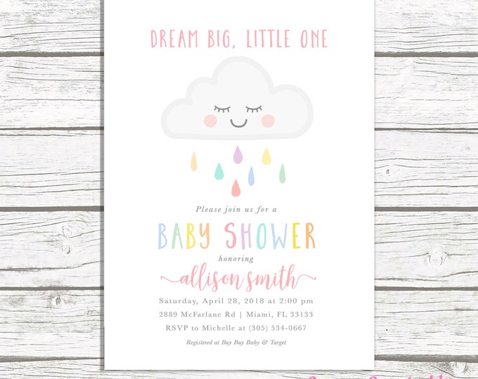 Cloud Baby Shower Invitation Girl, Rainbow Baby Shower Invite, Dream Big Little One Baby Shower Invitation, Baby Shower Invite, Printable