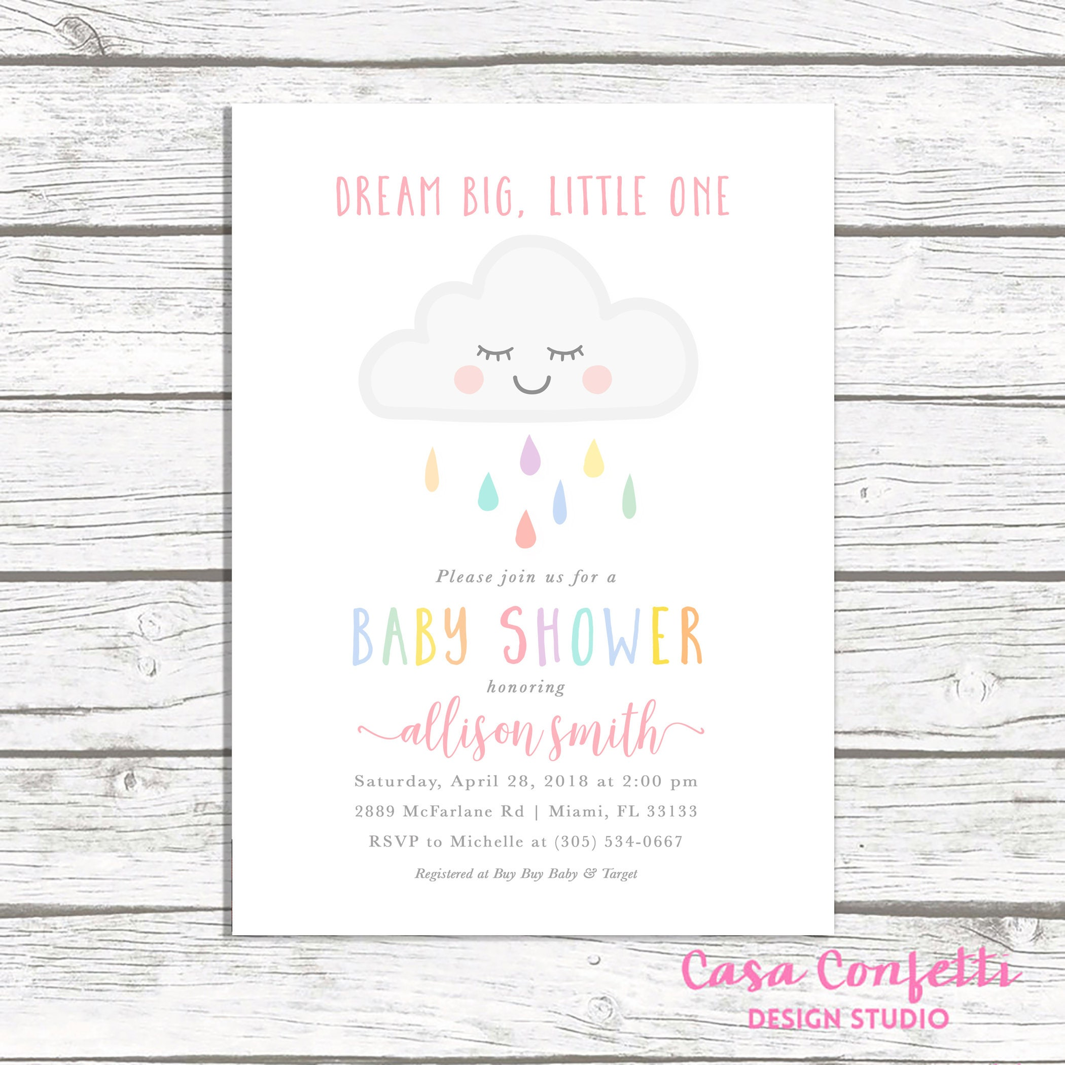Cloud Baby Shower Invitation Girl, Rainbow Baby Shower Invite, Dream ...