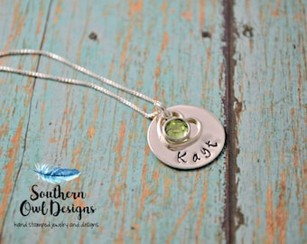custom sterling silver necklace, hand stamped name necklace,  Heart necklace, personalized stamped necklace, stamped jewelry