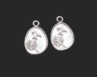 2 of 925 Sterling Silver Dandelion Charms 10x12mm .  :tm0179