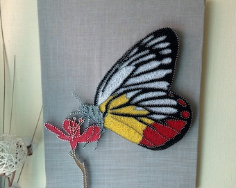 Butterfly String Art,Nursery Decor,String art pattern,Rustic Home Decor,Wall Art,Distressed Wall Sign,Srting pictures,Butterfly decor,