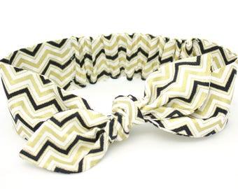 Baby girl headband, black topknot baby, baby turban, baby bows, cotton headband, toddler headband, baby headband, white, black gold metallic