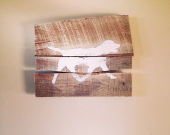 Labrador Silhouette Sign from Reclaimed Wood (white)