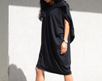 asymmetrical, asymmetrical tunic, asymmetric, asymmetric plus size, long tunic top, black dresses, asymmetric black top, oversize tunic