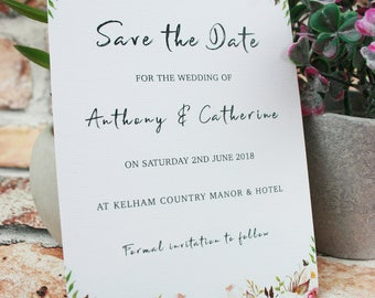 Save The Date Cards Floral, Save the date invites, Rustic Save The Date Cards, Wedding Invites, Engagement cards
