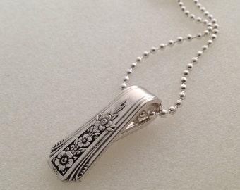 Silver Pendant. Fortune 1932 Spoon Pendant. Silverware Jewelry.