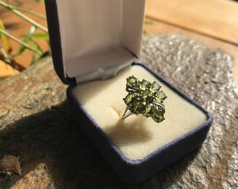 Green Peridot and Sterling Silver Ring