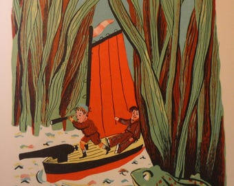 Swamp Boat - Boy in Boat with Frog - Florida Scenery  framable print -  summer sail boat beach, animal print, swamp creatures, 1930s retro