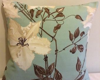 "Clearance 16"" Handmade contemporary modern duck egg blue, duck egg green, brown, cream flowered cushion cover,  pillow, scatter cushion."