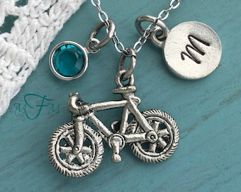 Bicycle Charm Necklace, Personalized Necklace, Silver Pewter Bicycle Charm, Custom Necklace, Swarovski Crystal birthstone