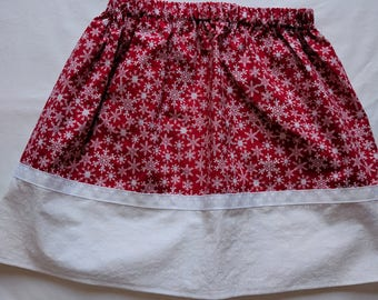 Girls Twirl Skirt - Red Snowflake Skirt