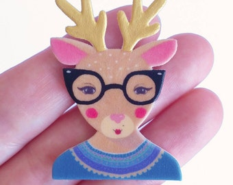 NEW! Brooch // Pin // Deer // Woodland // shrink plastic // lllustrated jewelry  // Gold Antlers // retro brooch // gift for her