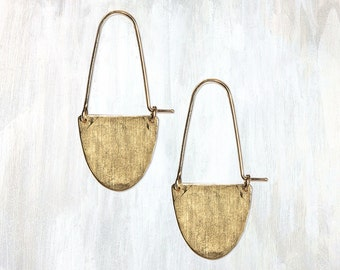 Hammered Brass Half Moon Earring, Half Moon Hoop