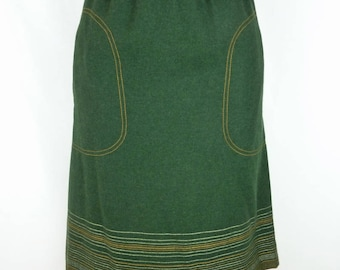 Green LOUIS FERAUD 1980 size 36 Size S small size - VINTAGE wool skirt