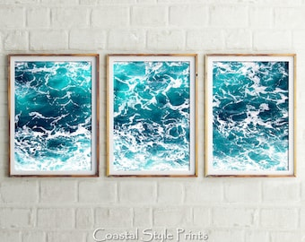 Set Of 3, Ocean Art Prints, Digital Prints, Coastal Wall Art, Ocean Print, Prints, Turquoise Art, Sea Print, Blue Poster, Office Art Prints