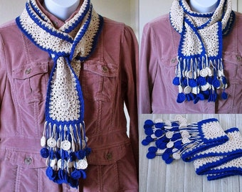 Granny Square Crochet Scarf with Tassels