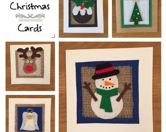 Handmade Christmas Cards, Snowman, Reindeer, Christmas Tree, Christmas Pudding, Angel Cards