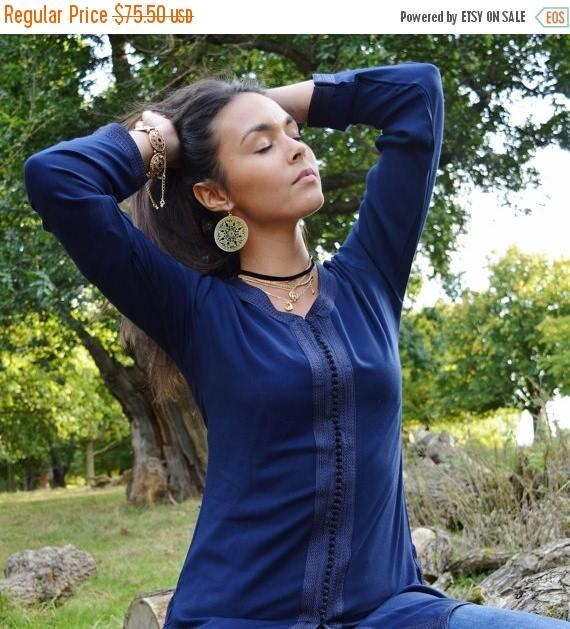 KAFTAN 20% SALE/ Magrib Style Navy Blue Shirt - for casualwear, loungewear, as birthday, honeymoon gifts for her, resortwear, christmas gift