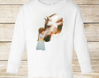Toddler / Kids Equestrian Shirt - Long Sleeve T-Shirt with Girl Kissing Horse - Horse Clothing for Toddlers