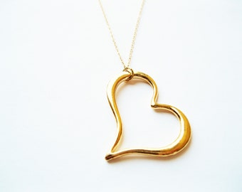 Big heart necklace, layering necklace, gold layering necklace, layering jewelry, cute heart necklace, gold heart necklace, modern necklace