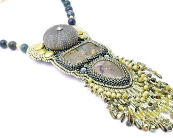 Beaded Embroidery Statement Necklace, Bead embroidery, Sea Urchin Necklace, Bead Art, Jasper necklace, Pearls Necklace, Green Collar, OOAK