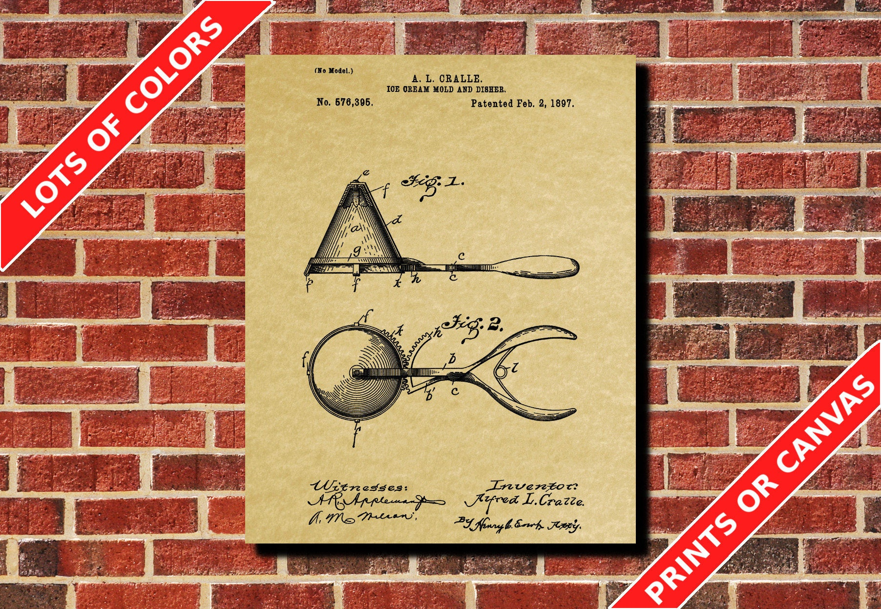 Ice Cream Scoops Patent Print Design Cafe Art Poster Blueprint