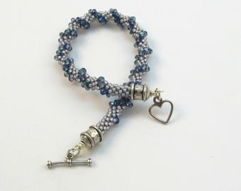 Beaded Kumihimo Bracelet with Blue Crystals