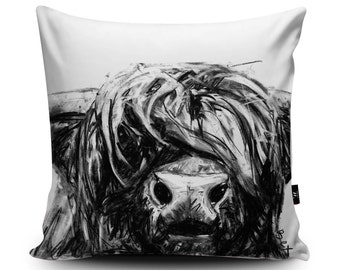 Charcoal Highland Cow Cushion by Bex Williams | Hand-Made Vegan-Suede Highland Cow Pillow | Scottish Cow Home Decor | Buffalo Cattle Cushion