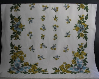 Vintage Butterfly Tablecloth, 1950s Tablecloth, Midcentury Tablecloth, Vintage Linens, Butterfly Tablecloth,