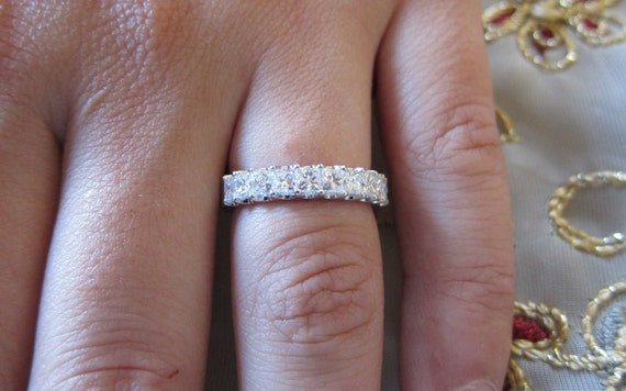 bands white princess cut wedding ring gold band diamond
